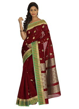 Dark Maroon Zari Weaved Kora Silk Saree