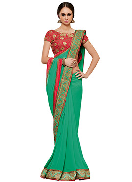 Dark Mint Green Georgette Border Saree