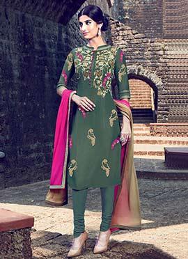 Dark Moss Green Churidar Suit