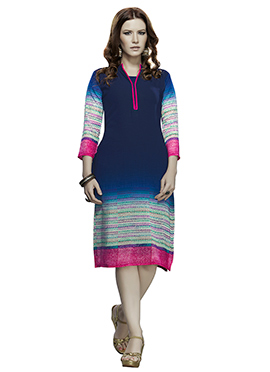 Dark Navy Blue Georgette Kurti