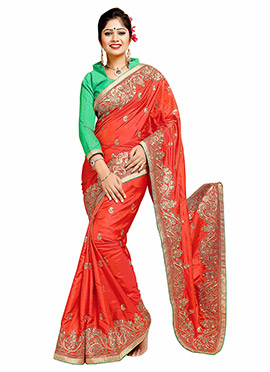 Dark Orange Art Silk Embroidered Saree