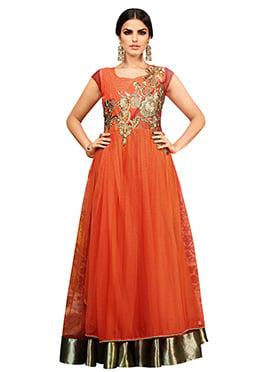 Dark Orange Embroidered Anarkali Gown