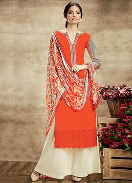 Dark Orange Pure Cotton Palazzo Suit
