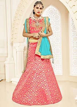 Dark Peach Art Silk Foil Printed A Line Lehenga Choli