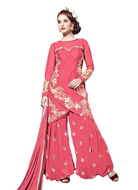 Dark Peach Embroidered Palazzo Suit