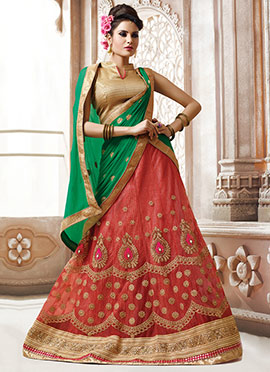 Dark Peach Lehenga Choli