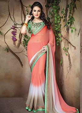 Dark Peach Ombre Saree