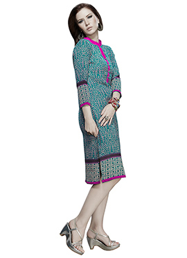 Dark Persian Green Georgette Kurti