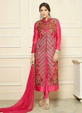 Dark Pink Art Silk Embroidered Center Slit Straight Suit