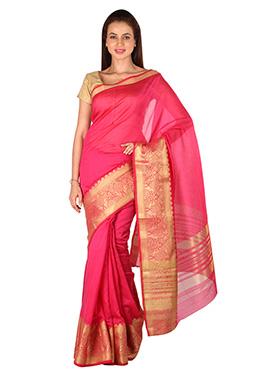 Dark Pink Benarasi Silk Designed Border Saree