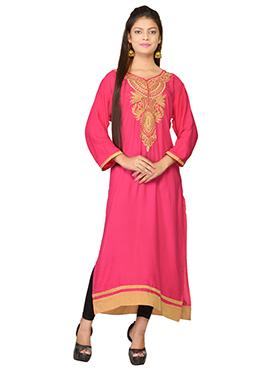 Dark Pink Embroidered Viscose Long Kurti