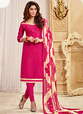 Dark Pink Jacquard Churidar Suit