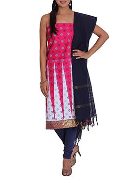 Dark Pink N White Cotton Printed Churidar Suit