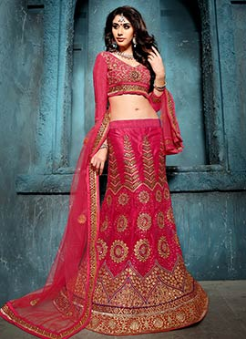Dark Pink Net Embroidered Lehenga Choli