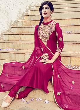Dark Pink Pure Cotton Satin Churidar Suit