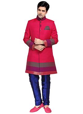 Dark Pink Silk Sherwani