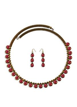 Dark Pink Stone Enhanced Choker Necklace Set