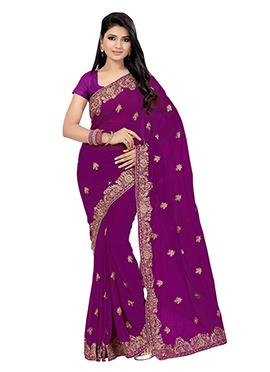 Dark Purple Chiffon Embroidered Saree