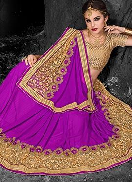 Dark Purple Chiffon Saree