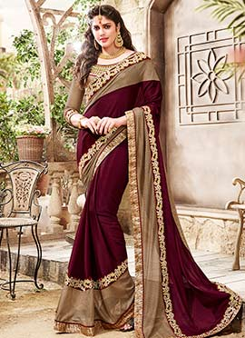 Dark Purple Chinon Chiffon Border Saree