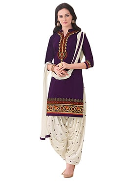 Dark Purple Embroidered Patiala Suit
