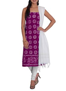 Dark Purple N White Cotton Printed Churidar Suit