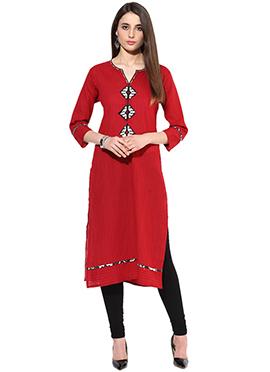Dark Red Cotton Long Kurti