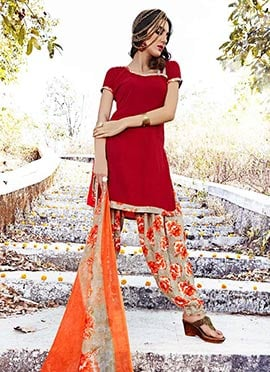 Dark Red Crepe Salwar Suit
