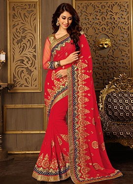 Dark Red Embroidered Saree
