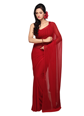 Dark Red Georgette Saree
