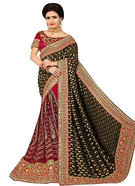 Dark Red N Black Embroidered Half N Half Saree