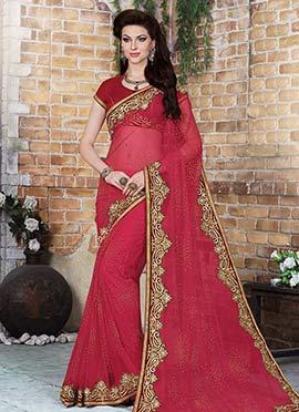 Dark Regal Red Net Saree