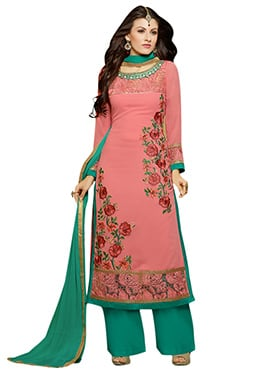 Dark Salmon Pink Georgette Palazzo Suit