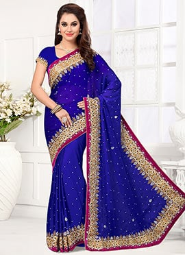 Dark Violet Satin Saree