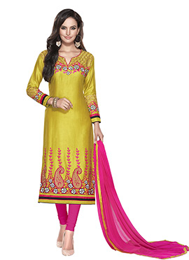 Dark Yellow Cotton Embroidered Straight Suit