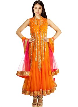 Dazzling Orange Net Ankle Length Anarkali Suit