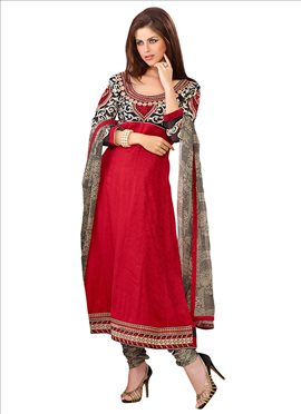 Dazzling Red Cotton Churidar Suit