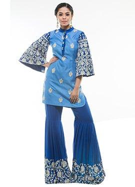 Debarun Blue Sharara Set