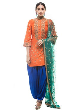 Debarun Orange Patiala Suit