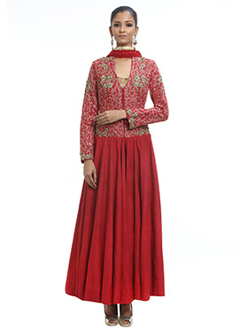 Debarun Red Anarkali Suit