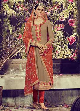 Deep Beige Georgette Embroidered Straight Suit