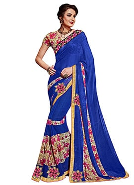 Deep Blue Georgette Printed Saree