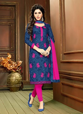Deep Blue N Magenta Foliage Design Straight Suit
