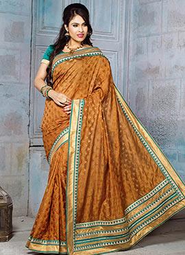Deep Brown Art Silk Jacquard Designed Saree