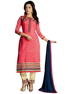 Deep Coral Peach Chanderi Silk Straight Pant Suit