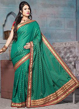 Deep Green Art Silk Jacquard Designed Saree