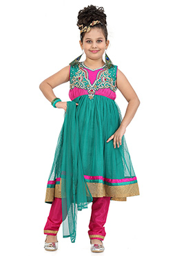 Deep Green N Magenta Net Anarkali Suit