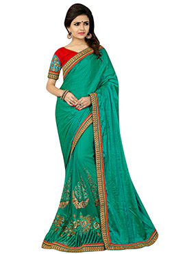 Deep Green Net N Art Silk Half N Half Saree