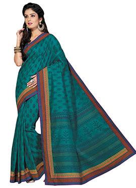 Deep Jade Green Cotton Saree