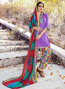 Deep Lavender Crepe Patiala Suit